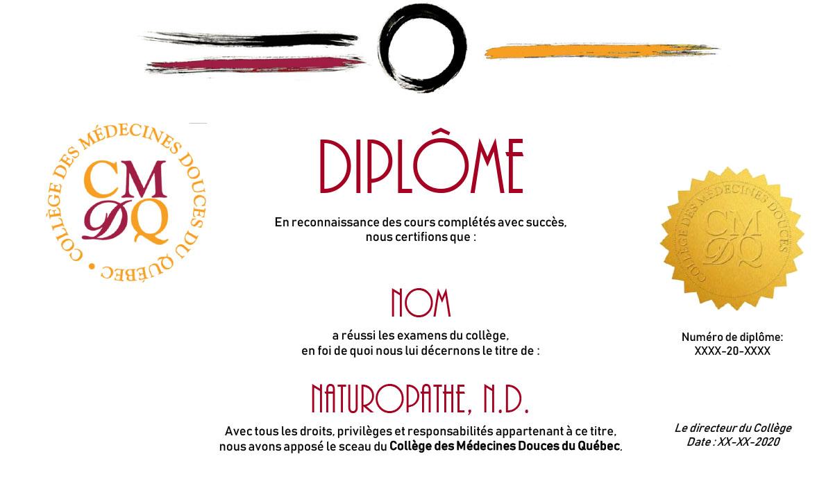 Diplome du Collège des Médecines Douces du Québec